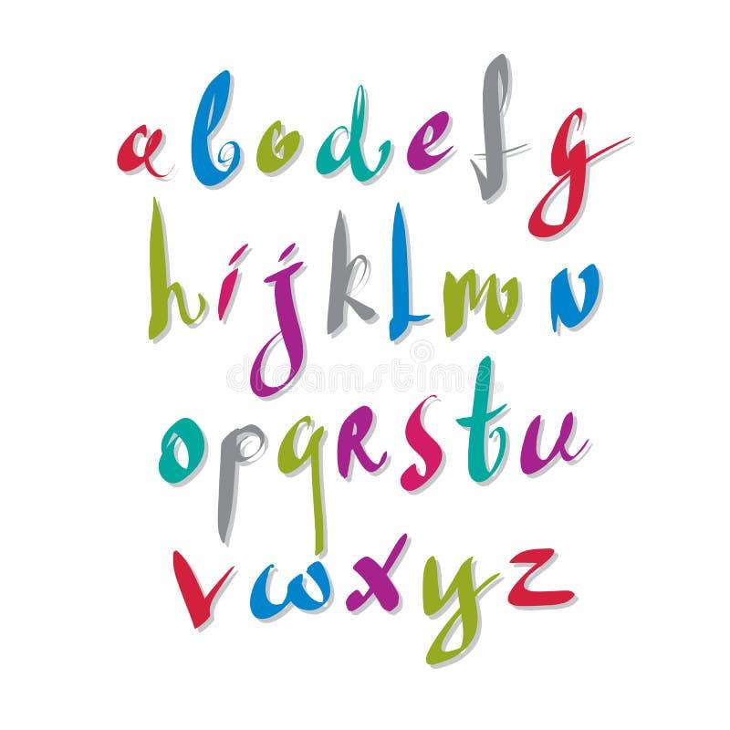 Handskriven vektorskrift, alfabetbokstavsuppsättning royaltyfri illustrationer