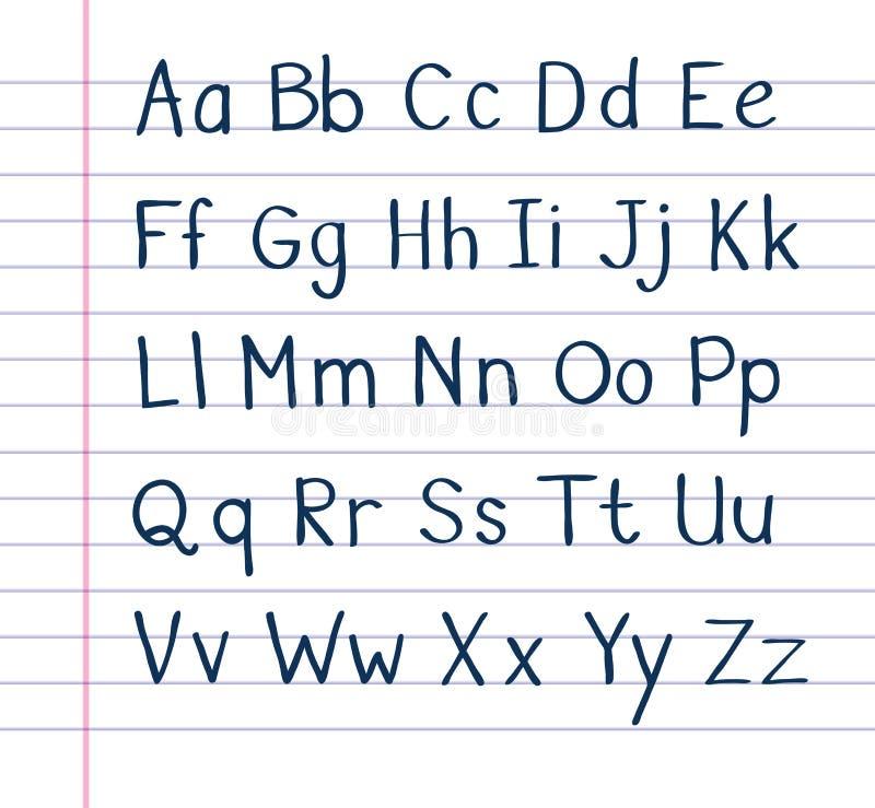 Handskrivet alfabet på fodrat papper royaltyfri illustrationer