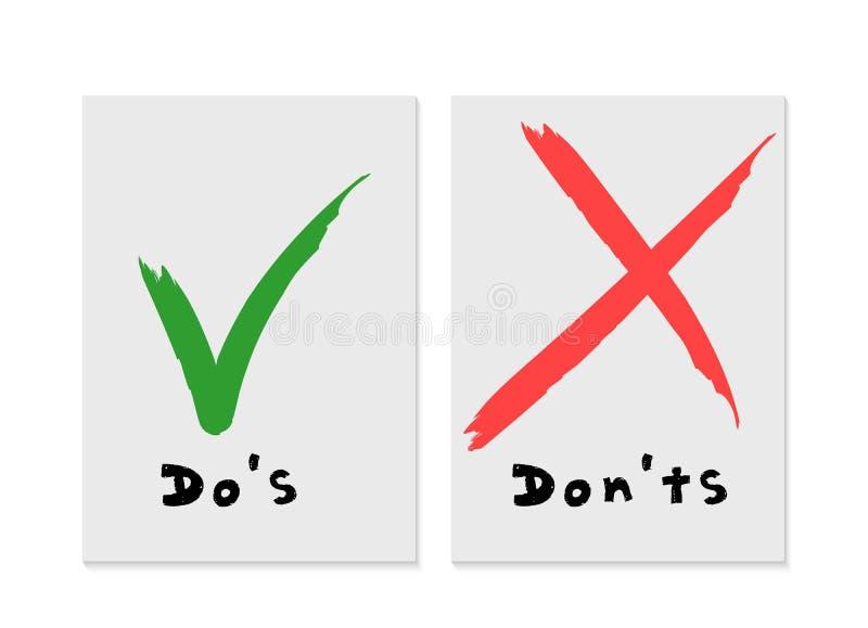 Handskrivet gör och kontrollera inte symboler för fästingfläck- och Röda korsetcheckboxen som märker designen som isoleras på vit royaltyfri illustrationer