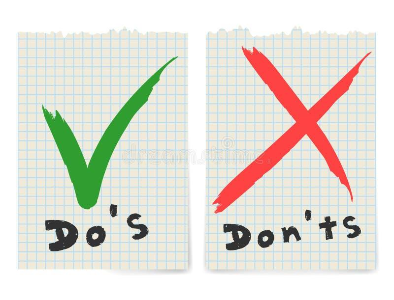 Handskrivet gör och kontrollera inte symboler för fästingfläck- och Röda korsetcheckboxen som märker designen som isoleras på vit stock illustrationer