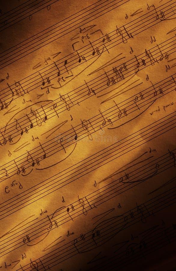 handskrivet musikark v fotografering för bildbyråer