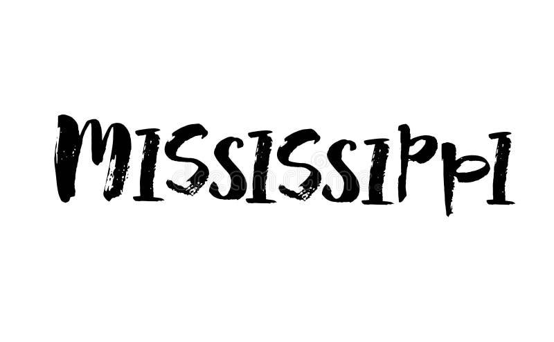 Handskrivet namn Mississippi för amerikansk stat Calligraphic beståndsdel för din design Modern borstekalligrafi vektor stock illustrationer