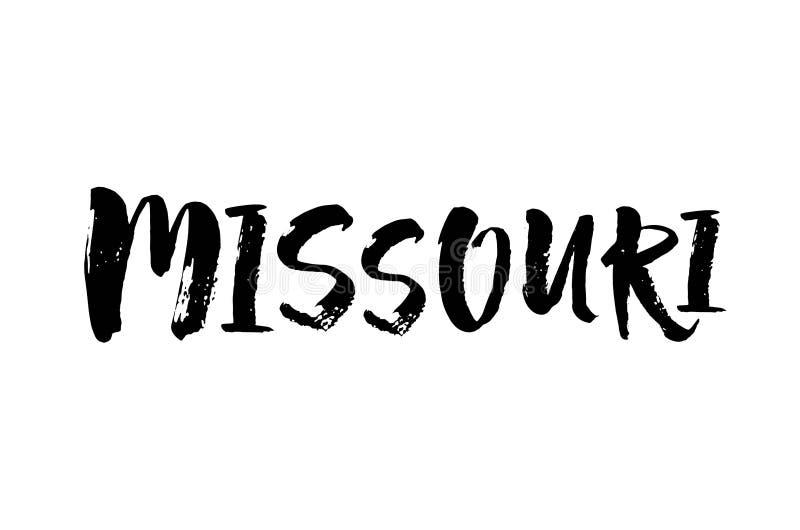 Handskrivet namn Missouri för amerikansk stat Calligraphic beståndsdel för din design Modern borstekalligrafi vektor stock illustrationer
