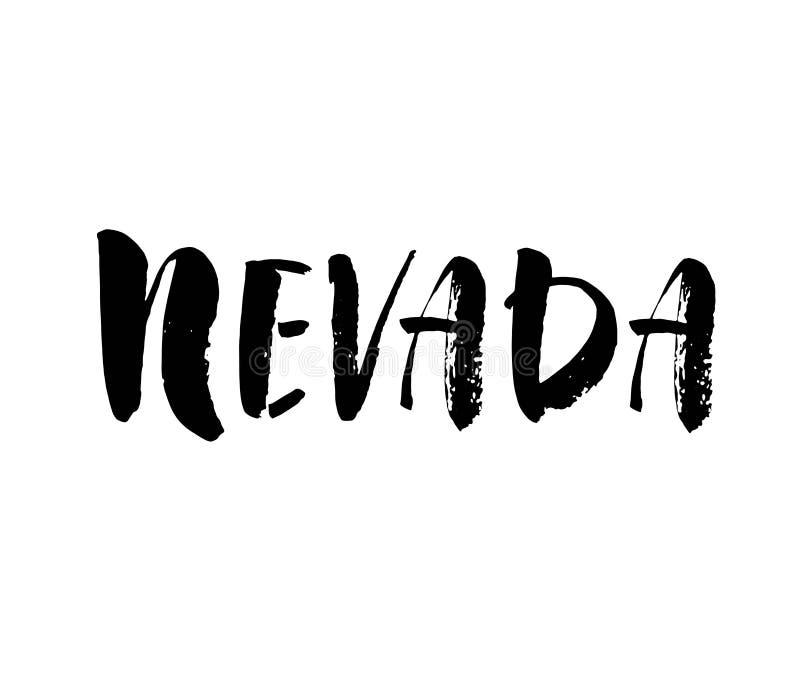 Handskrivet namn Nevada för amerikansk stat Calligraphic beståndsdel för din design Modern borstekalligrafi vektor stock illustrationer