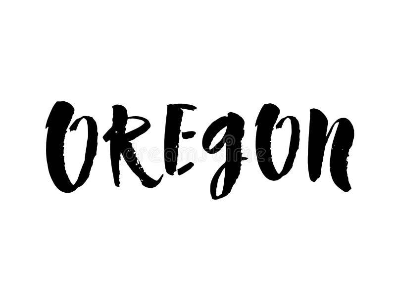 Handskrivet namn Oregon för amerikansk stat Calligraphic beståndsdel för din design Modern borstekalligrafi vektor royaltyfri illustrationer