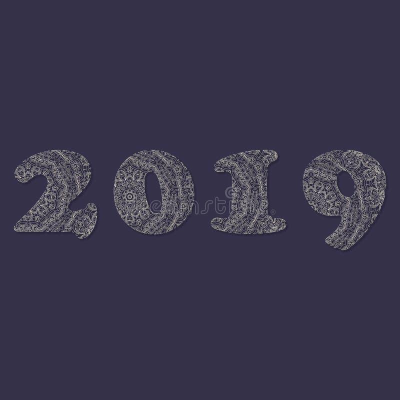 Handskrivet nummer 2019 som mönstras med zen-tova former för, dekorerar kalendern stock illustrationer