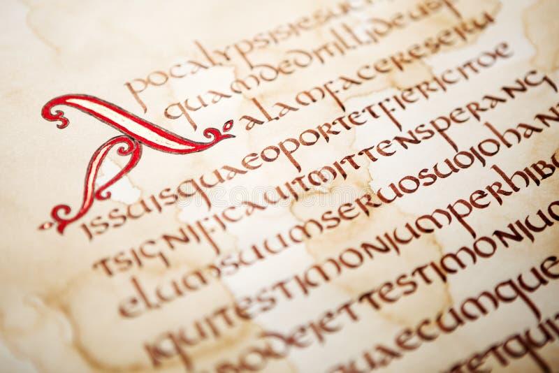 Handskrivet utdrag från bibeln royaltyfri illustrationer