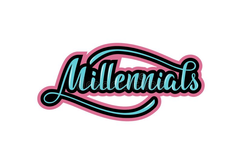Handskrivet uttryck Millennials bokst?ver royaltyfri illustrationer