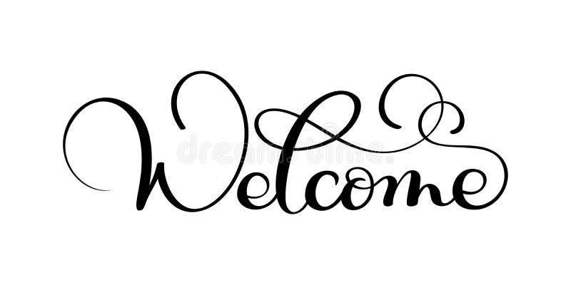 Handskrivet välkommet kalligrafibokstäverord white för vektor för bakgrundsillustrationhaj stock illustrationer