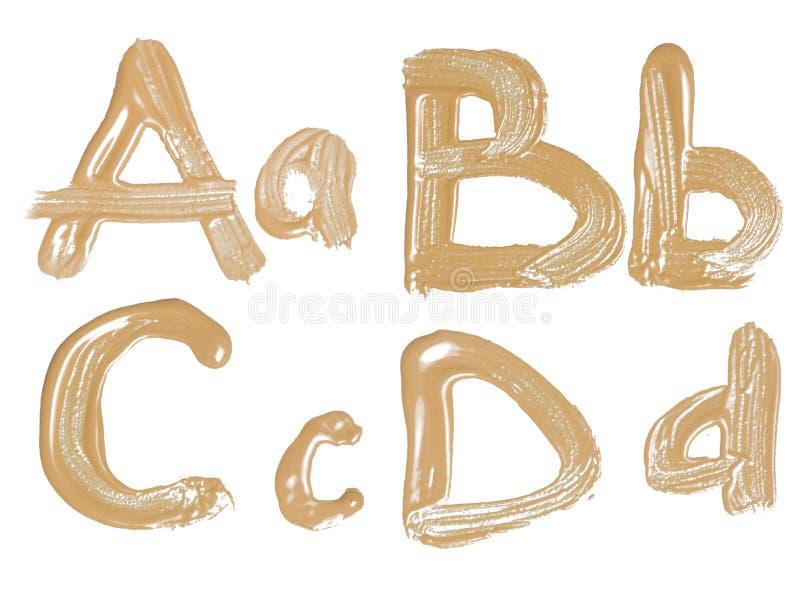Handskrivet vattenfärgalfabet som isoleras. stock illustrationer