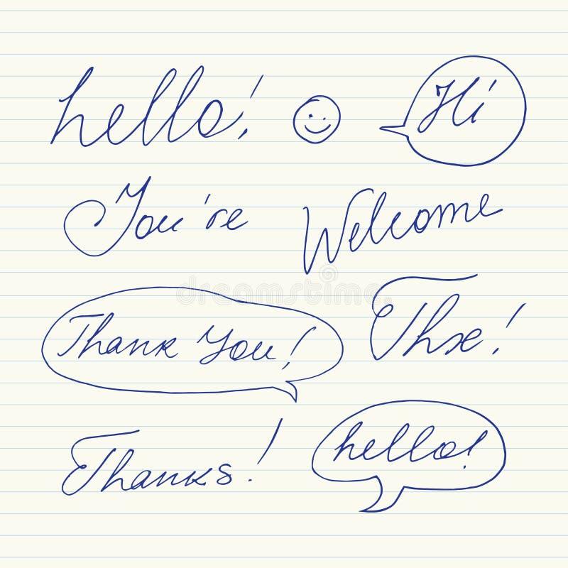 Handskrivna korta uttryck Hello, tacka dig, välkomnandet, tack som är högt, Thx stock illustrationer