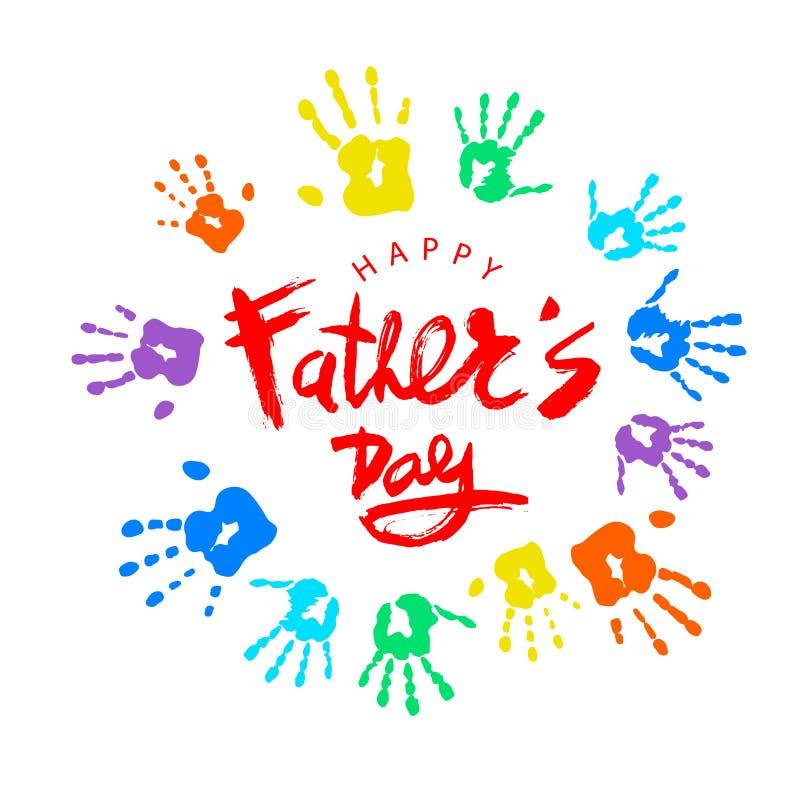 Handskrivna märka lyckliga faders för vektor dag med dekorativa beståndsdelar på vit bakgrund stock illustrationer