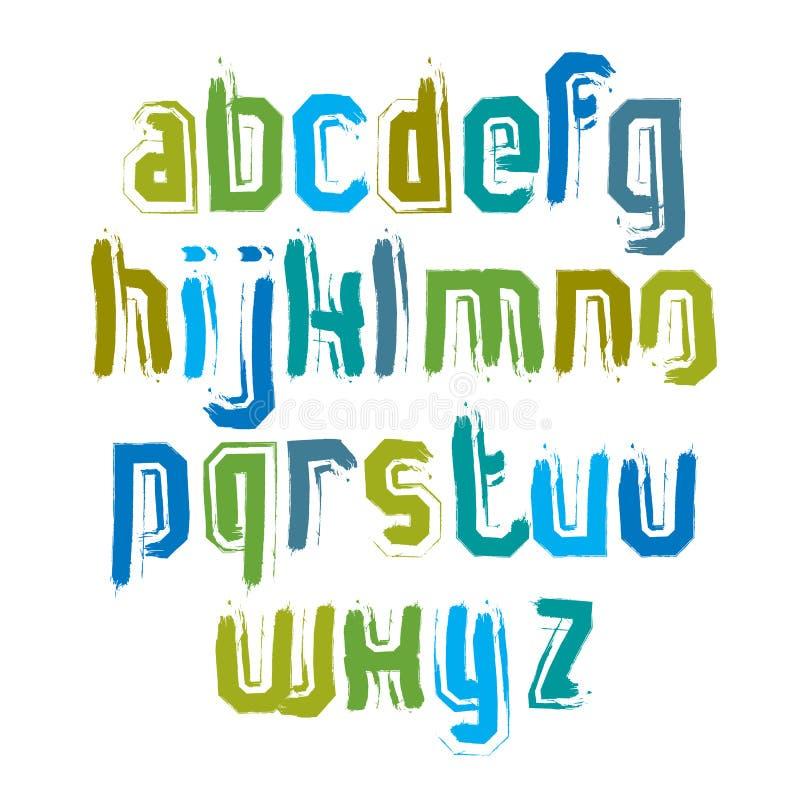 Handskrivna moderna vektorsmå bokstäver, klotterhand-p vektor illustrationer