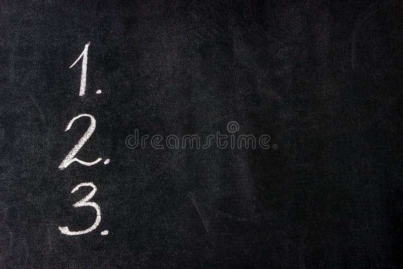 handskrivna nummer Begreppsmål listar, motivational, beslutet, valet, upplösning arkivfoto
