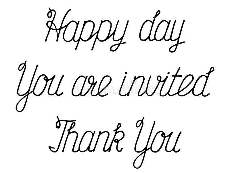 Handskrivna uttryck för inbjudningar och hälsningar stock illustrationer
