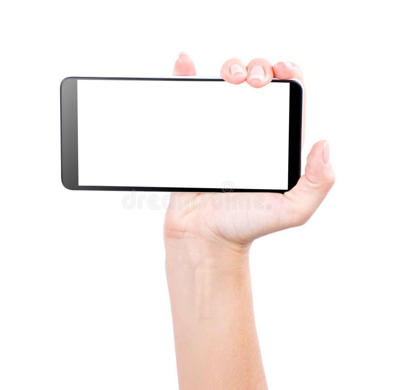 Handsmartphone som isoleras på vit bakgrund royaltyfria foton