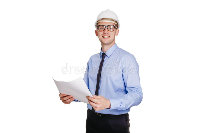 Handsom construction engineer with blueprint looking at the camera. Isolated on white. Handsom construction engineer looking at the blueprint stock photos
