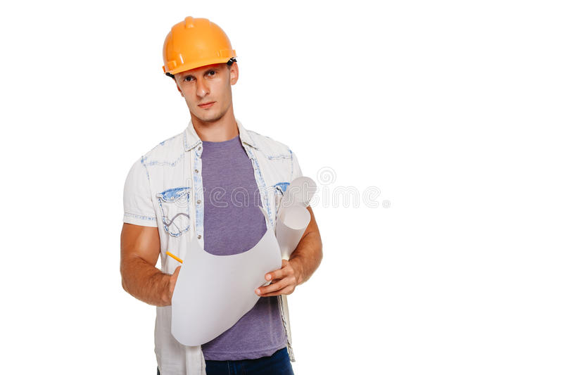 Handsom construction engineer with blueprint looking at the camera. Isolated on white. Handsom construction engineer looking at the blueprint stock images
