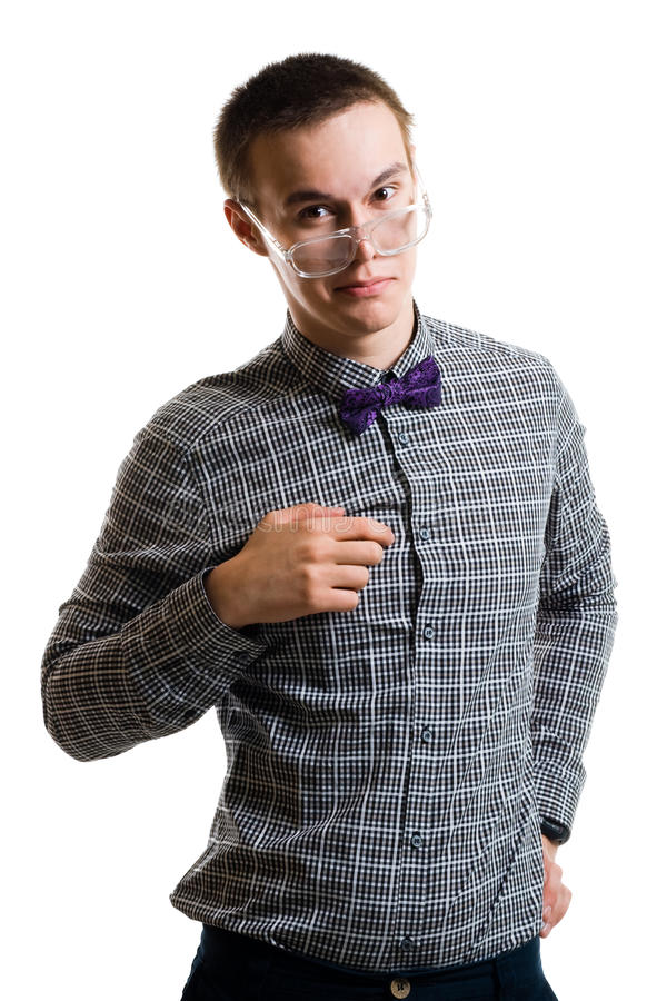 Download Handsom Young Man In Shirt With Bow Wearing Glasse Stock Image - Image: 10720209