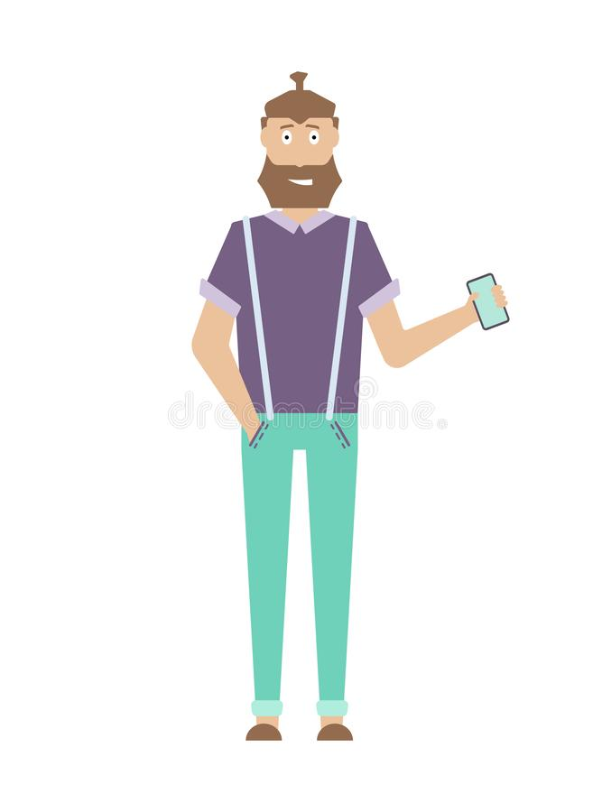 Handsome adult man with beard and hairstyle stock illustration