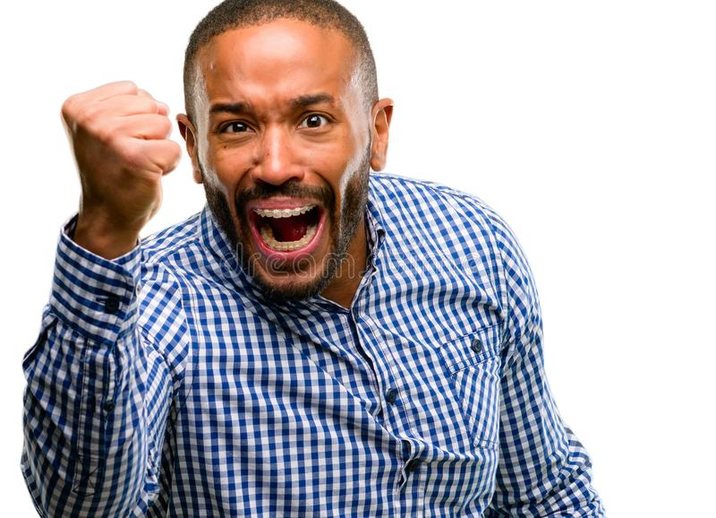 Handsome african american man. African american man with beard irritated and angry expressing negative emotion, annoyed with someone isolated over white royalty free stock photo