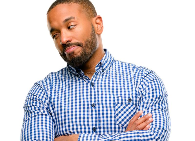 Handsome african american man. African american man with beard irritated and angry expressing negative emotion, annoyed with someone isolated over white stock photo