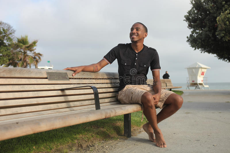 Handsome African American man outdoors stock images