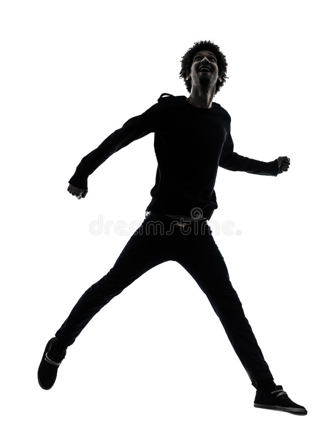Download Handsome African Young Man Jumping  Silhouette Stock Photo - Image: 30951546