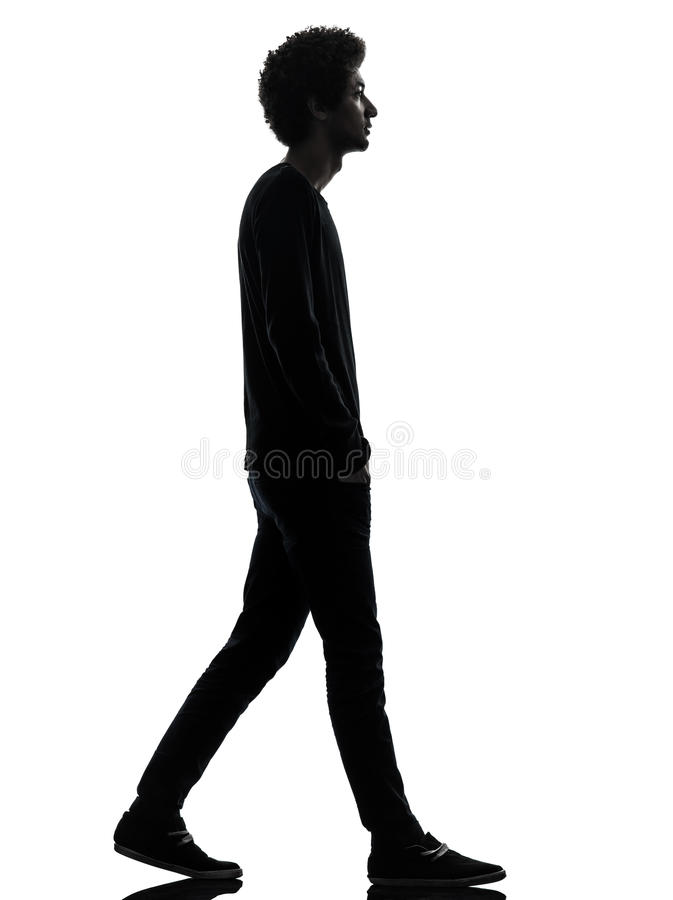 Free Handsome African Young Man Walking Silhouette Stock Image - 29448601