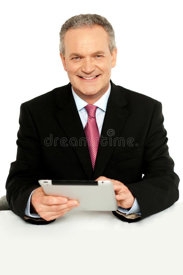 Download Handsome Aged Business Male Using Tablet Pc Stock Photo - Image: 26097794