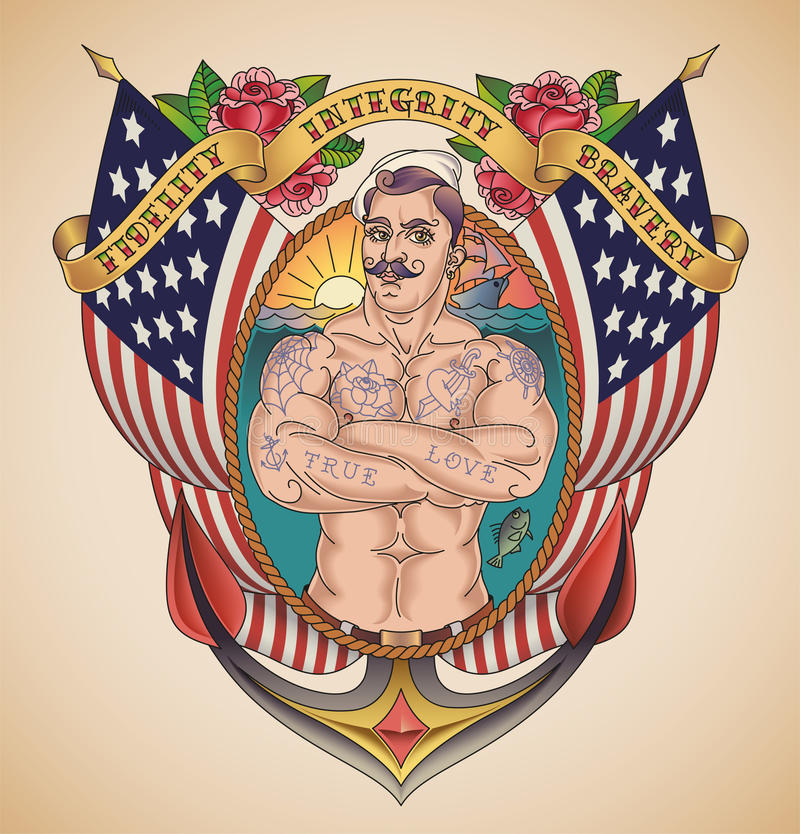 Handsome American Sailor Tattoo vector illustration