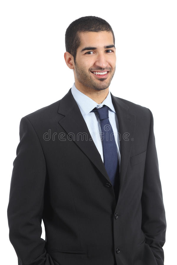Handsome arab businessman posing confident wearing suit royalty free stock photos