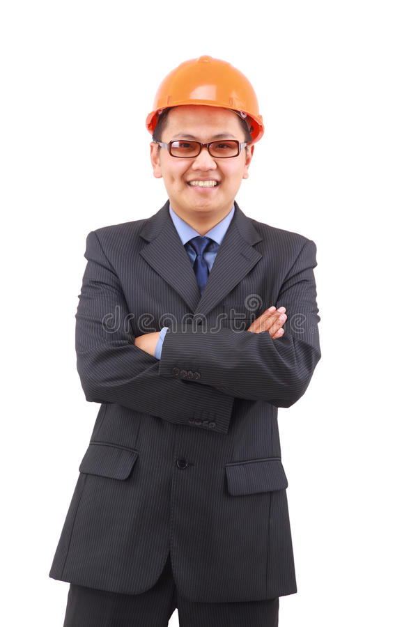 Handsome architect. Isolated royalty free stock photo