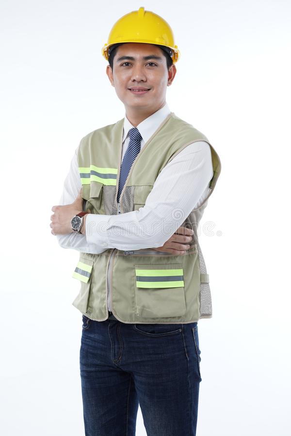 Handsome Asian Construction Worker Isolated on White Background. Asian Male Construction Worker Isolated on White Background stock photos