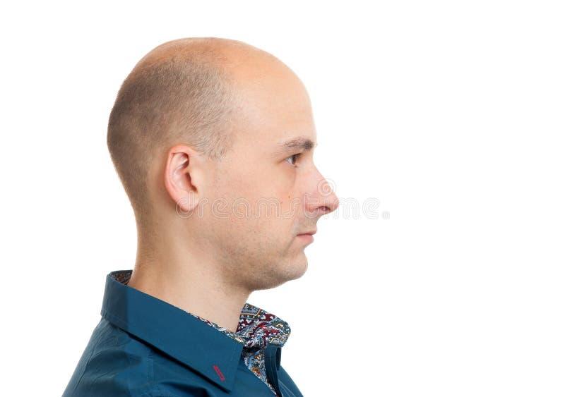 Handsome bald man profile royalty free stock photos