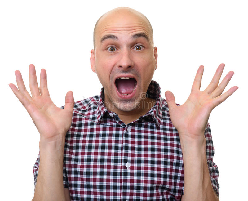 Handsome bald man surprised isolated royalty free stock image