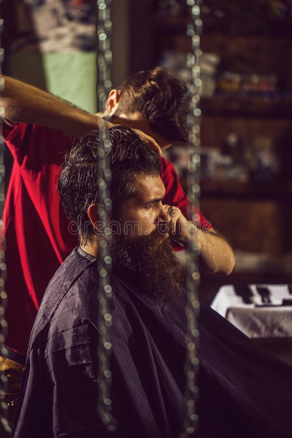 Barber cuts hair to man. Handsome barber cuts hair, hairstyle, to bearded man with beard. Male customer sitting in chair in hairdressing saloon or barbershop stock image