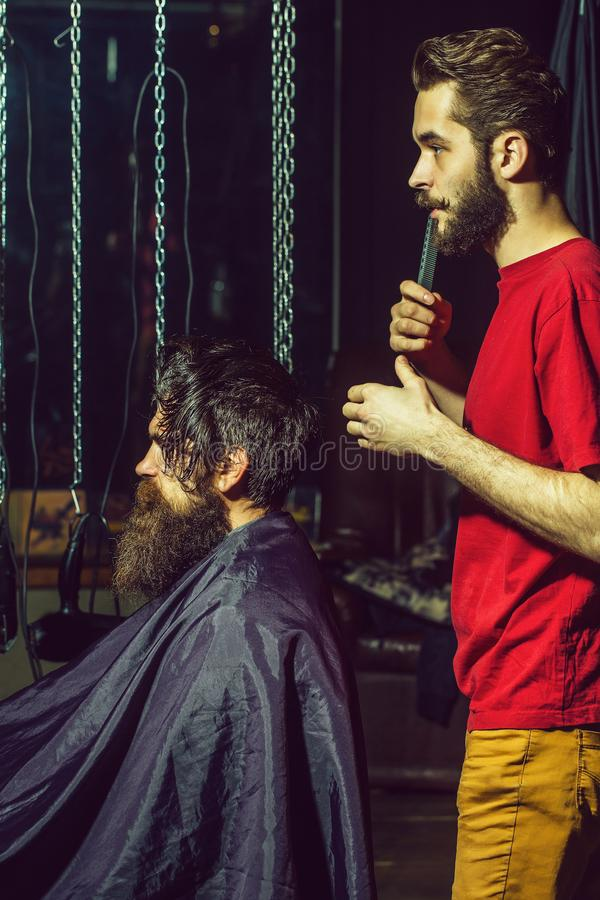 Barber cuts hair to man. Handsome barber cuts hair, hairstyle, to bearded men with beard. Male customer sitting in chair in hairdressing saloon or barbershop stock photography