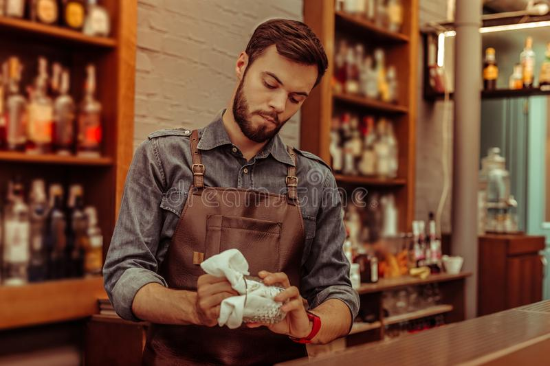 Handsome bartender polishing a glass at the bar royalty free stock photos