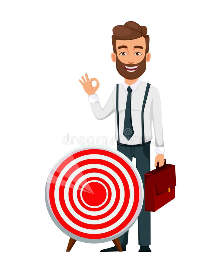 Handsome bearded businessman standing near target and showing ok sign. royalty free illustration