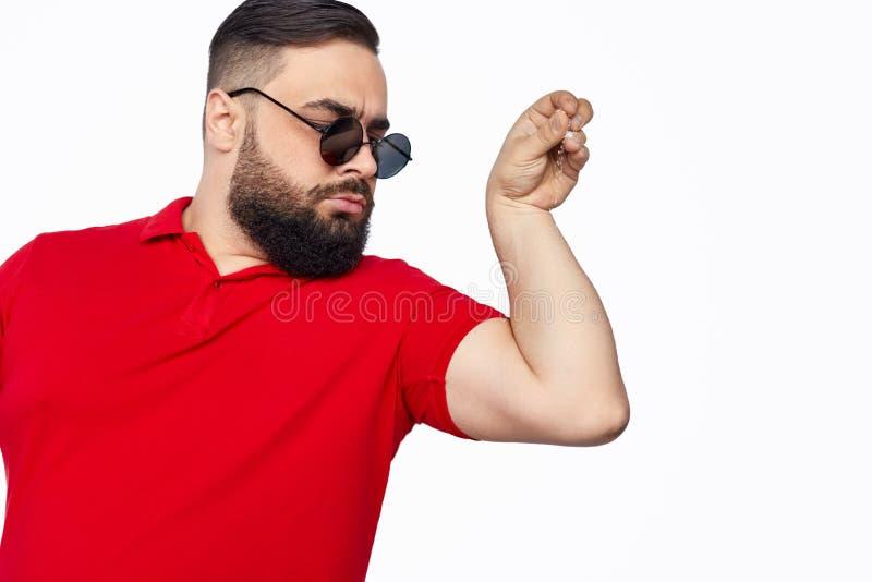 Arrogant man spilling salt royalty free stock image