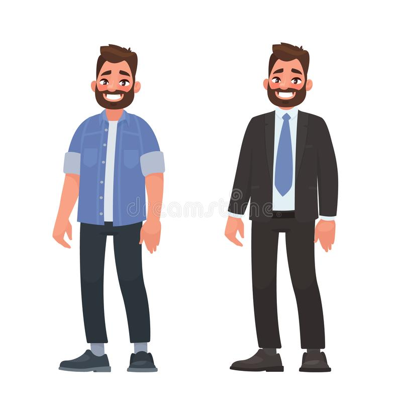 Handsome bearded man in casual and business clothes. Person dressed in a shirt and jeans and a strict suit vector illustration