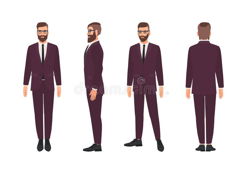 Handsome bearded man or clerk dressed in elegant business suit. Smiling male cartoon character isolated on white. Background. Front, side and back views stock illustration