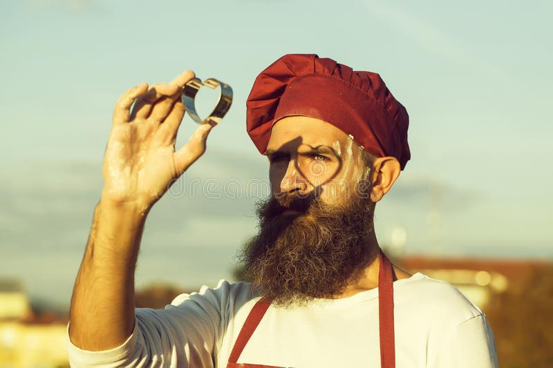 Bearded man cook chef stock photos