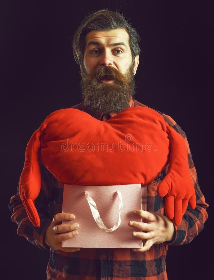 Handsome bearded man or guy in checkered shirt with fashionable mustache and beard on surprised face holds valentines royalty free stock photos
