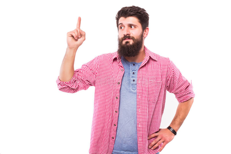 Handsome bearded man have an idea royalty free stock photo