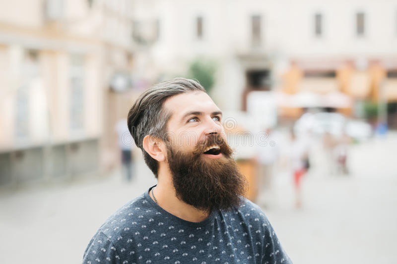 Handsome bearded man outdoor royalty free stock photo