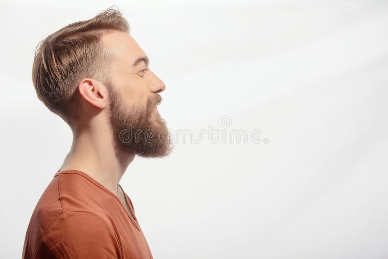 Handsome bearded man posing on white stock images