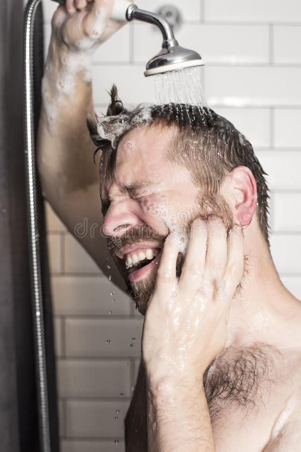 A handsome, bearded man washes the shampoo from his hair in the stock image
