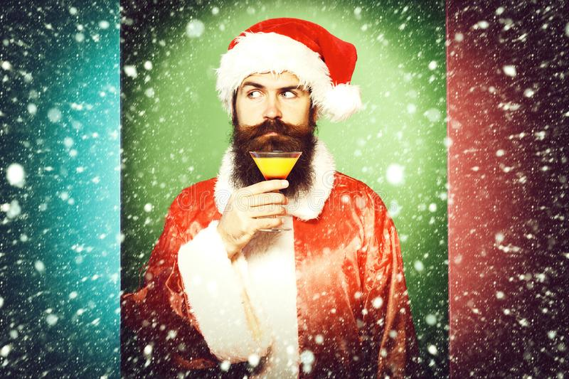 Funny bearded santa claus man with long beard stock photos